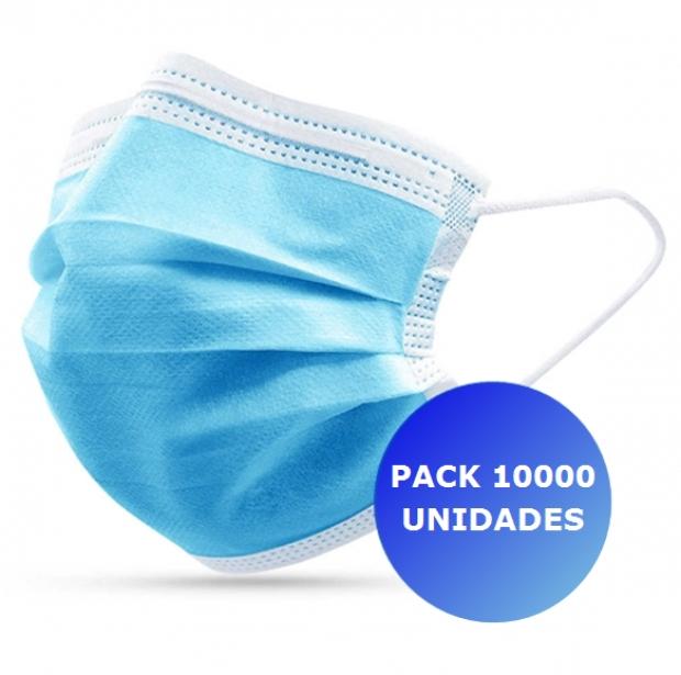 Pack 10000x Máscara Descartável 3 camadas
