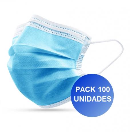 Pack 100x Máscaras Certificadas CE FDA 3 camadas