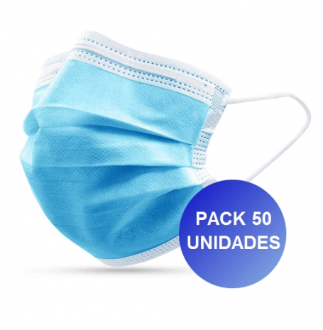 Pack 50x Máscaras Certificadas CE FDA 3 camadas