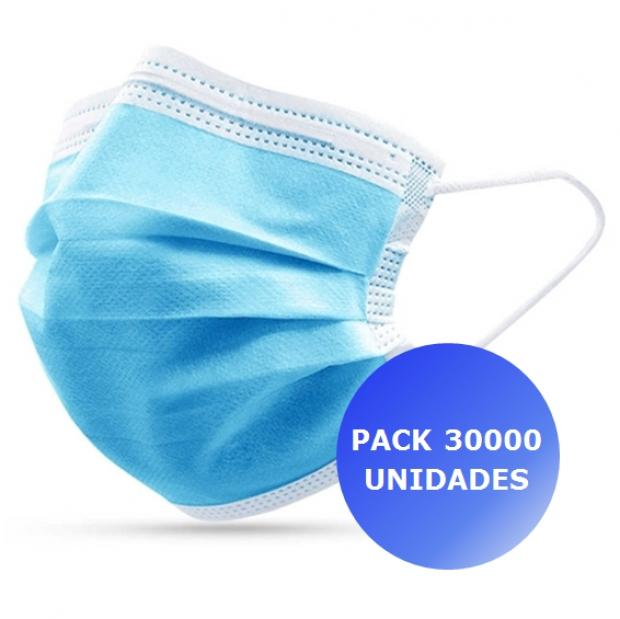 Pack 30000x Máscara Descartável 3 camadas